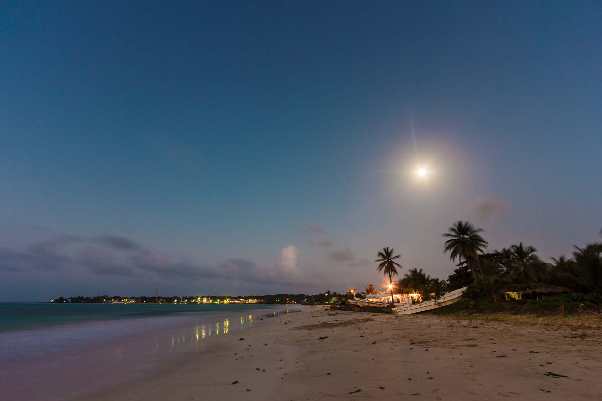 Long exposure moon + beach photography.
