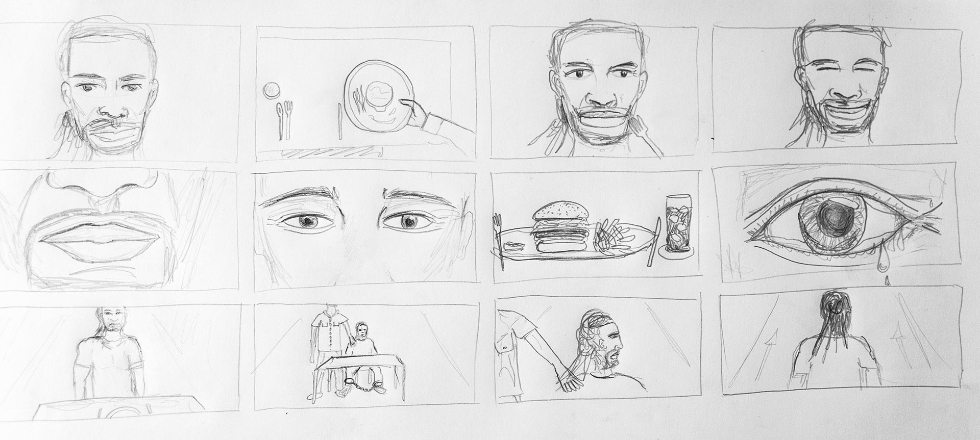 A storyboard sketch showing some of my envisioned shots.