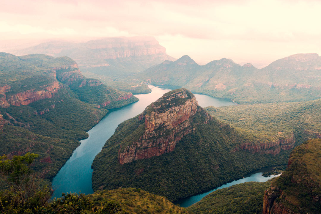 This is Blyde River Canyon, the world's largest green canyon and third largest overall (Grand Canyon is #1, Fish River Canyon in Namibia is #2) Truly spectacular.