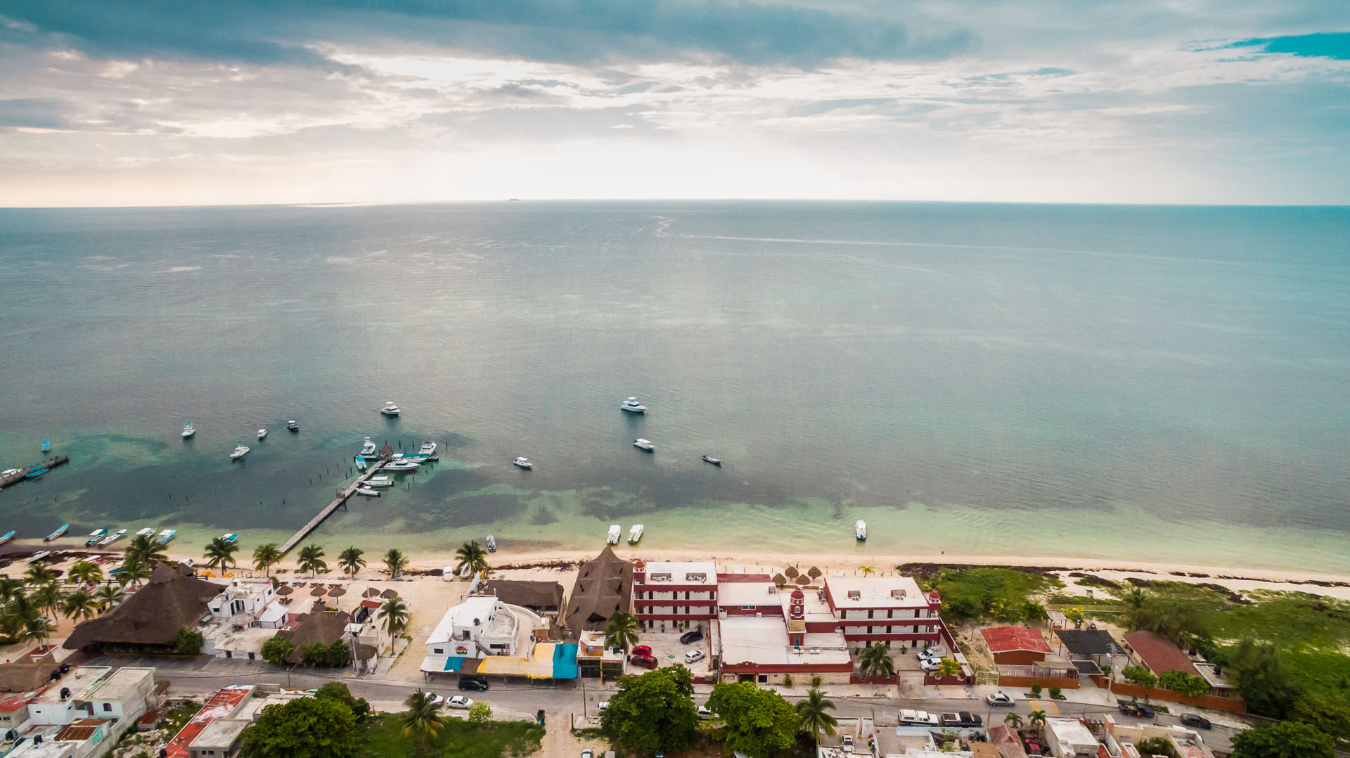 Puerto Morelos and the Caribbean from above.