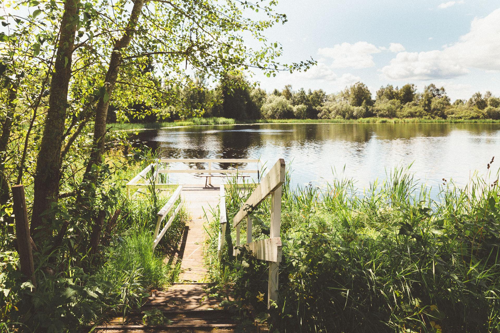 A small lake.