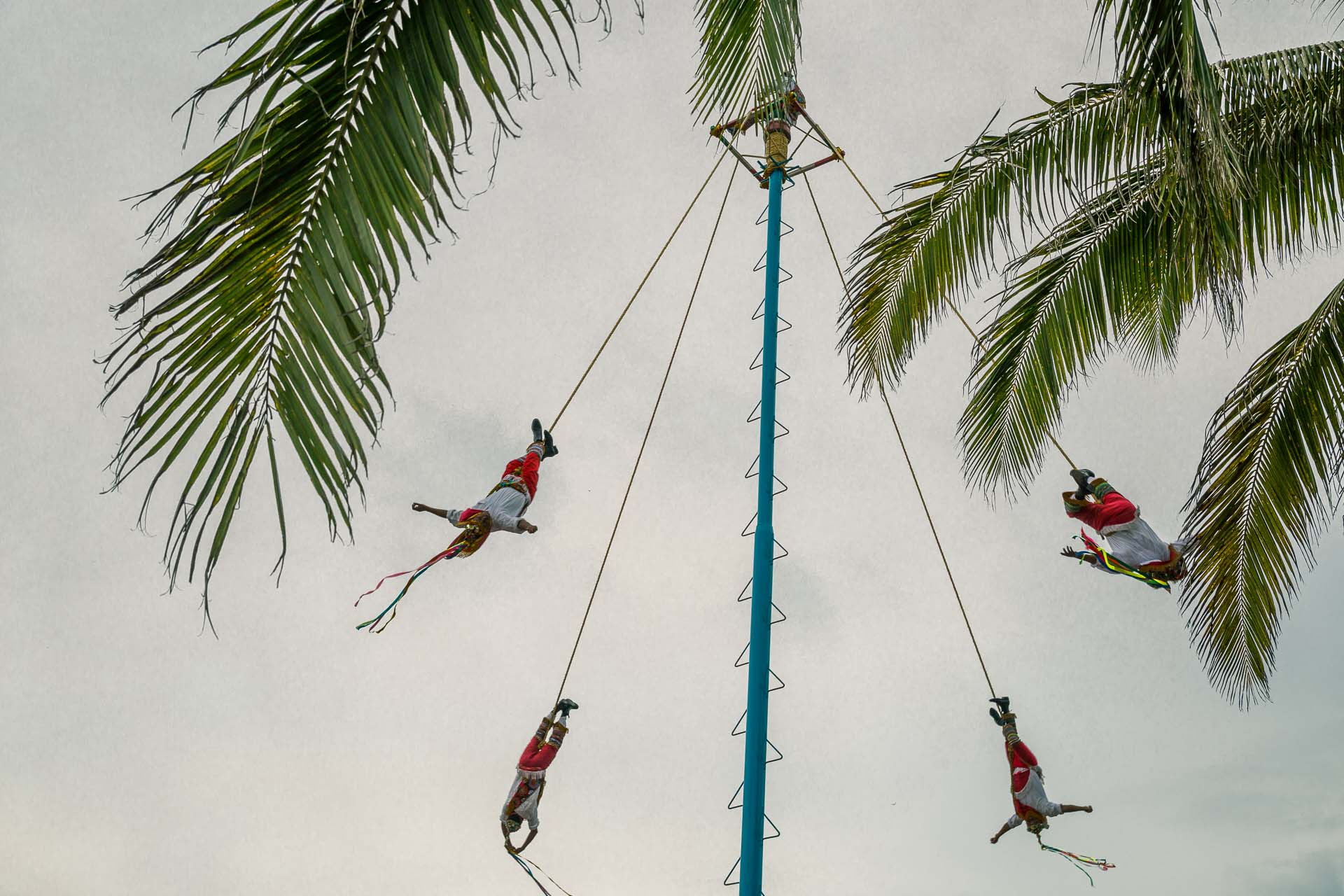 "Another (impressive!)  show for the tourists: ""Danza de los Voladores"", four young men tied with ropes descending to the ground from a 30m vault accompanyed by music and dancing. Also known as the flying men."