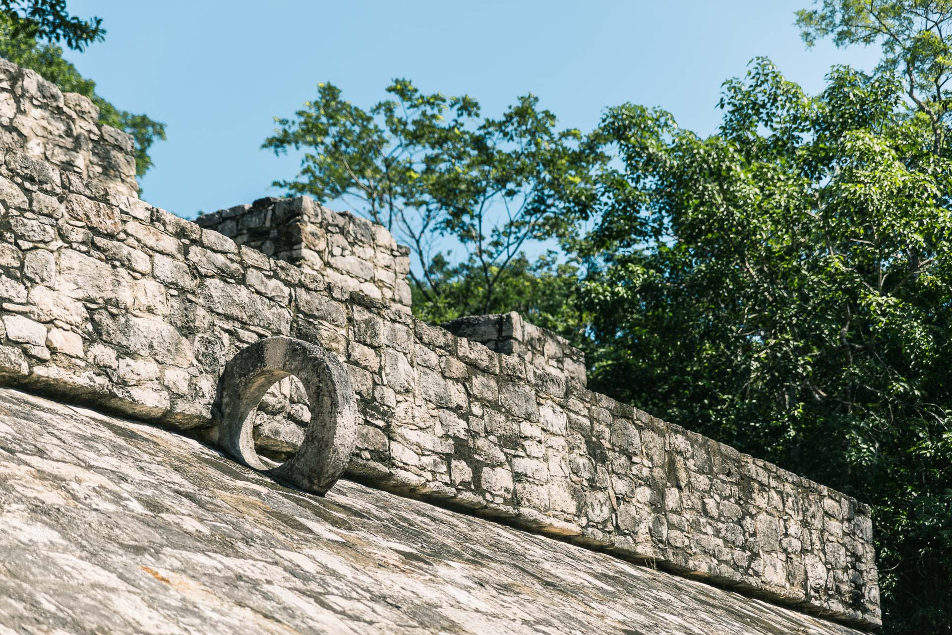 One of the goals at the Mayan ball court.