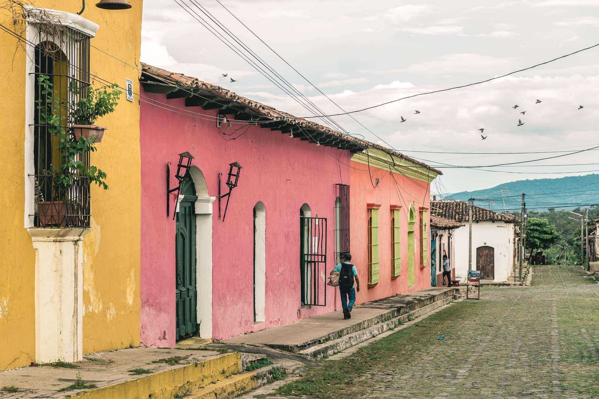 Colored houses are everywhere in Central America. This is Suchitoto.