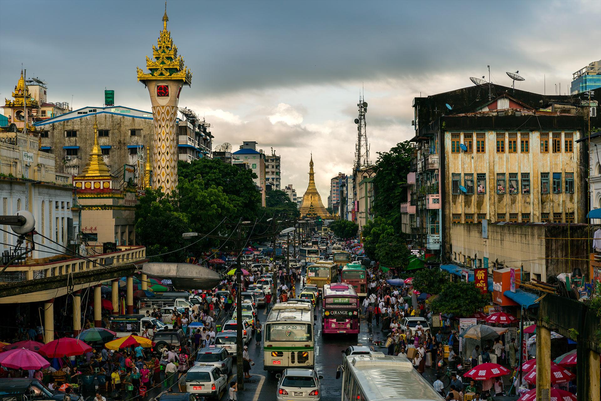 Rush hour in Yangon, Myanmar