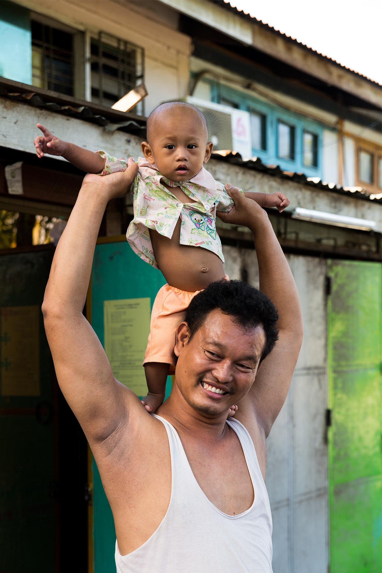 Happy dad in Mandalay, Myanmar