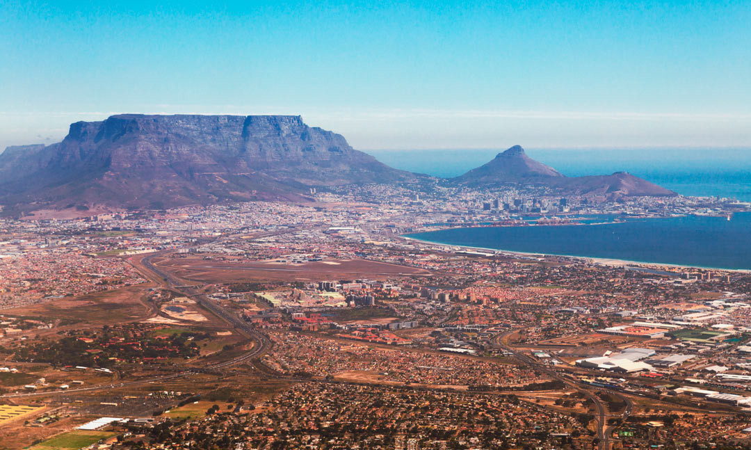 Aerial view over Cape Town.