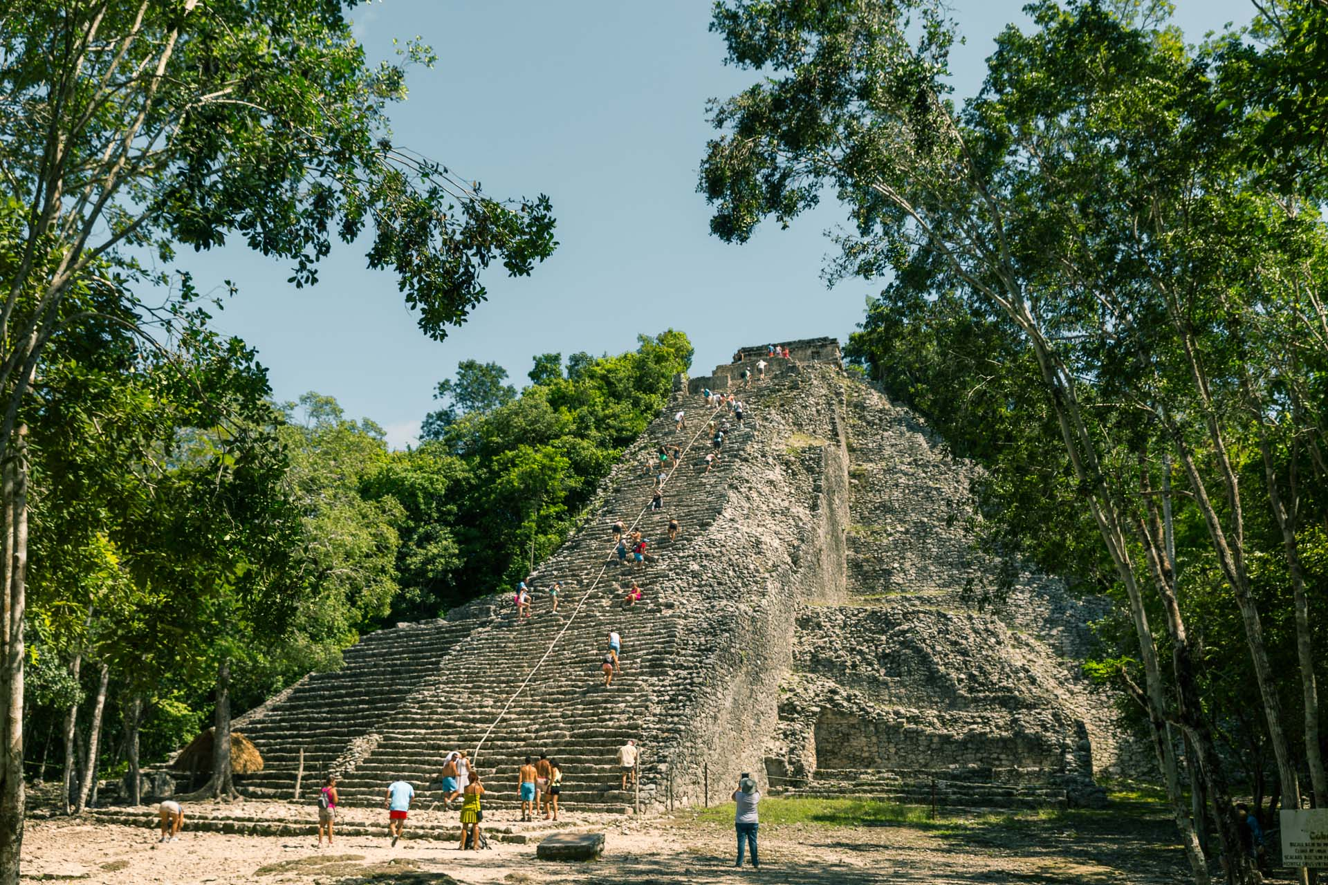 The Ixmoja Pyramid in Cobà. 42 metres tall, towering over the thick jungle.