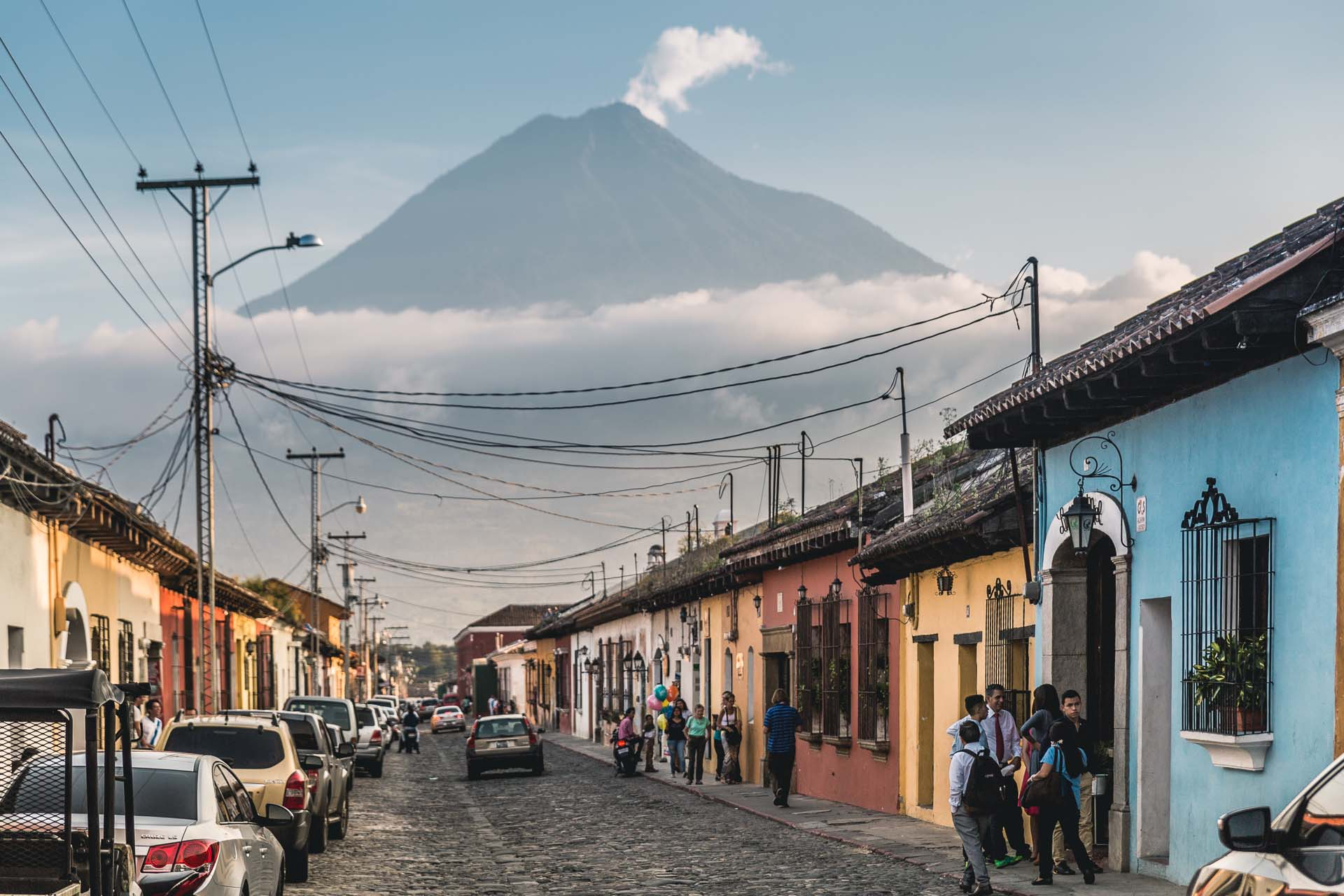 After a quick stop in Guatemala City, our first destination in Guatemala was Antigua. Here one of the main streets is seen with a towering volcano in the background - strangely only showing itself for a few minutes a day (due to clouds).