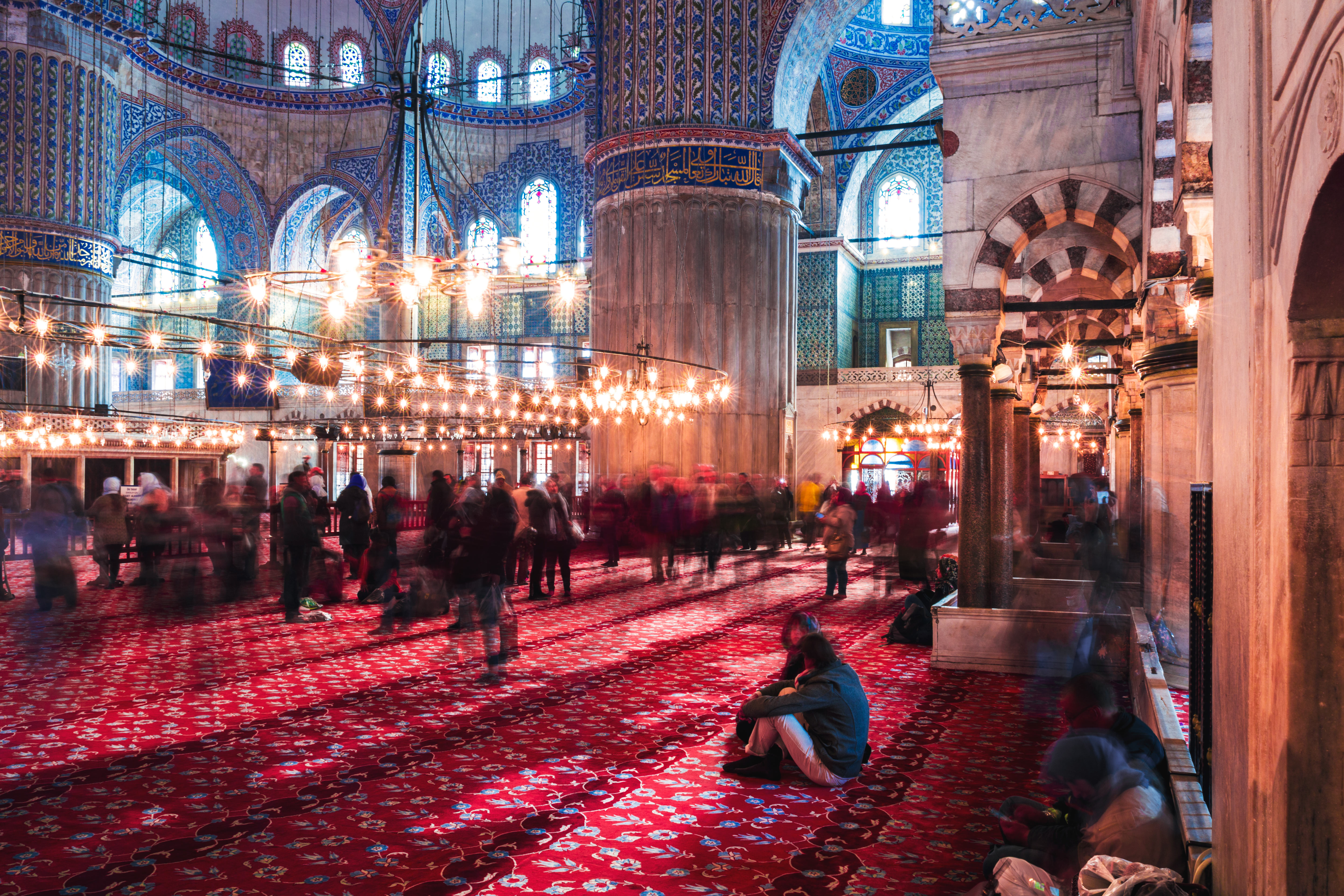 Inside the breathtaking Blue Mosque.