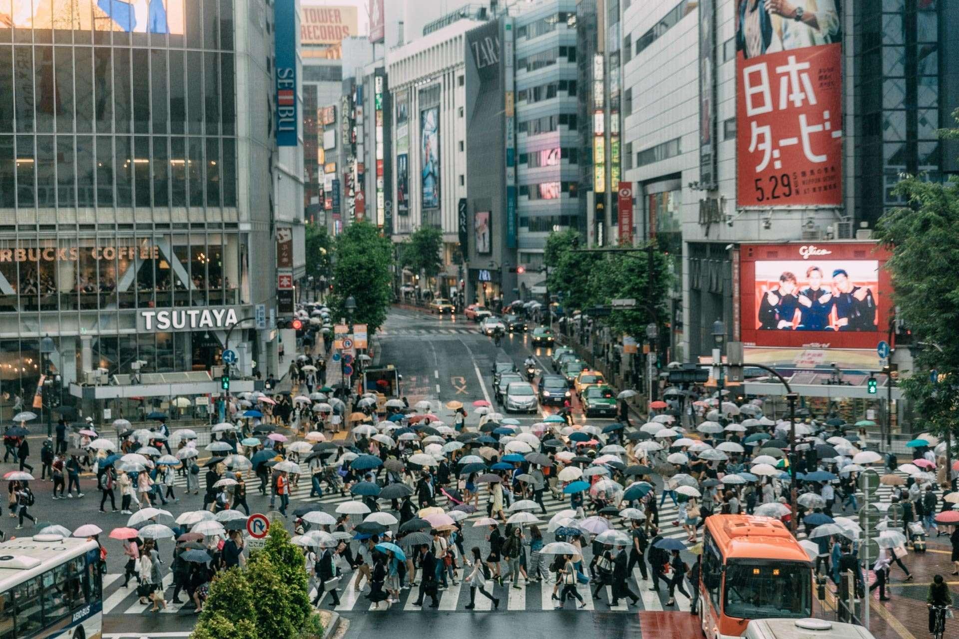 Regnvejr i Shibuya.
